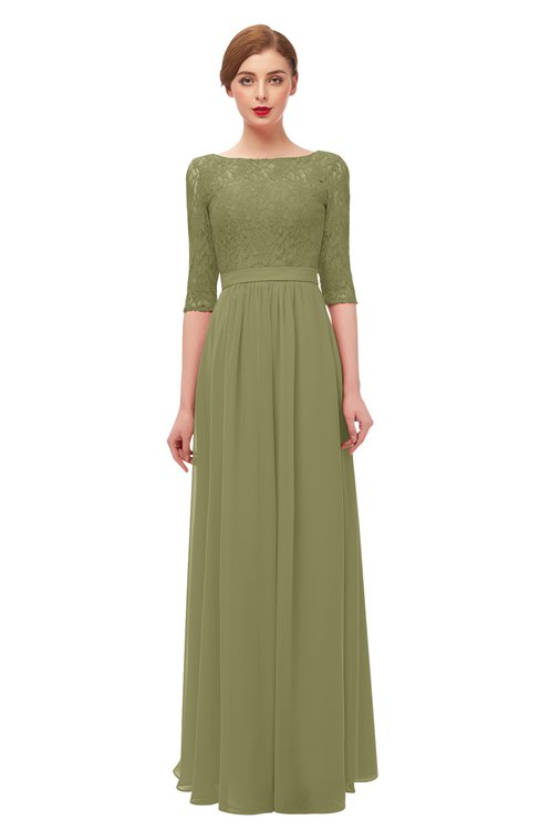 ColsBM Neriah Cedar Bridesmaid Dresses Lace Antique Zipper Boat Floor Length Half Length Sleeve