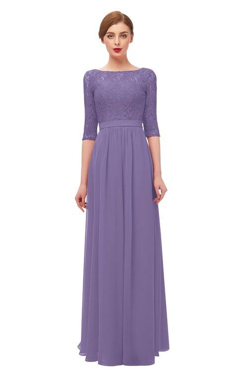 ColsBM Neriah Chalk Violet Bridesmaid Dresses Lace Antique Zipper Boat Floor Length Half Length Sleeve