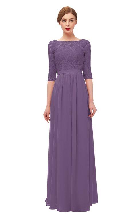 ColsBM Neriah Chinese Violet Bridesmaid Dresses Lace Antique Zipper Boat Floor Length Half Length Sleeve