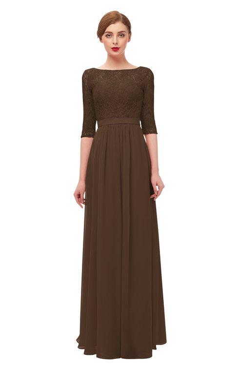ColsBM Neriah Chocolate Brown Bridesmaid Dresses Lace Antique Zipper Boat Floor Length Half Length Sleeve
