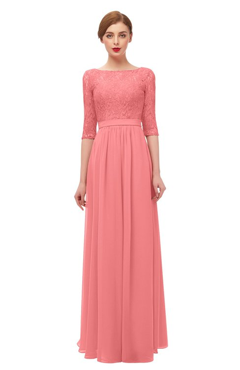 ColsBM Neriah Coral Bridesmaid Dresses Lace Antique Zipper Boat Floor Length Half Length Sleeve