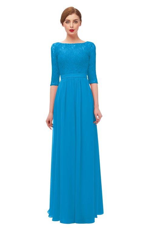 ColsBM Neriah Cornflower Blue Bridesmaid Dresses Lace Antique Zipper Boat Floor Length Half Length Sleeve