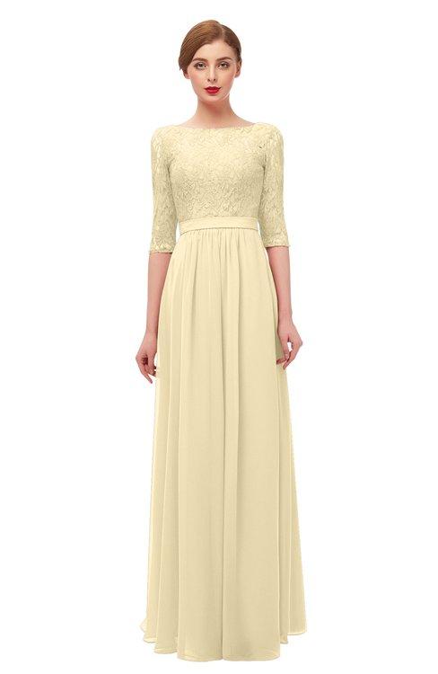 ColsBM Neriah Cornhusk Bridesmaid Dresses Lace Antique Zipper Boat Floor Length Half Length Sleeve