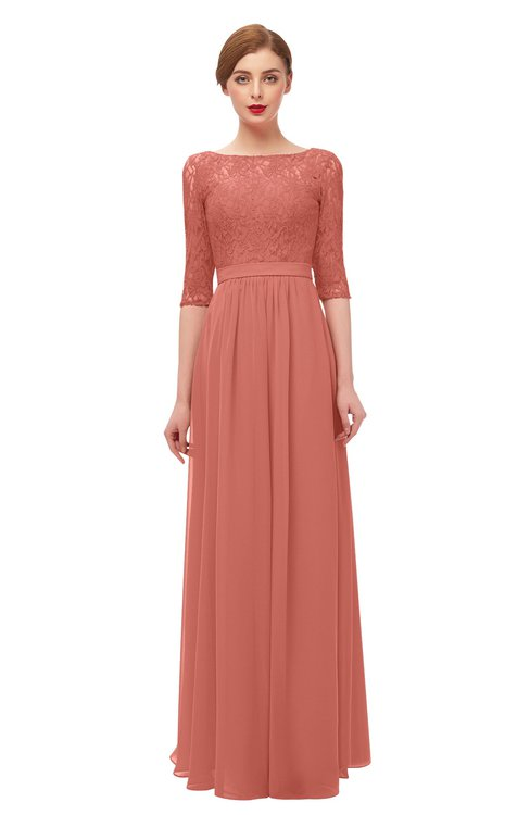 ColsBM Neriah Crabapple Bridesmaid Dresses Lace Antique Zipper Boat Floor Length Half Length Sleeve