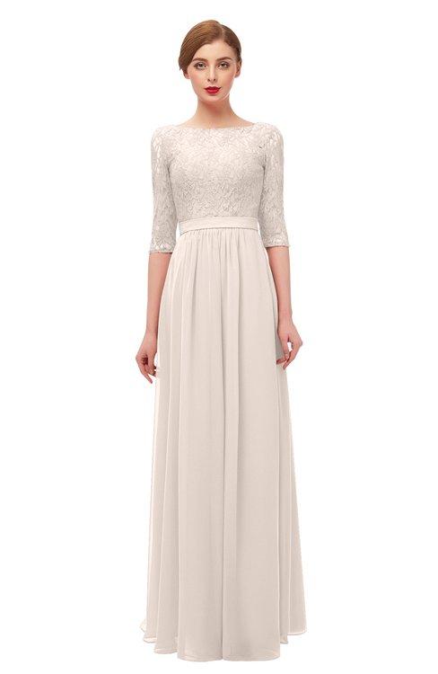 ColsBM Neriah Cream Pink Bridesmaid Dresses Lace Antique Zipper Boat Floor Length Half Length Sleeve