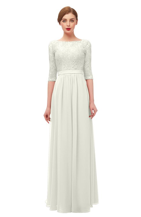 ColsBM Neriah Cream Bridesmaid Dresses Lace Antique Zipper Boat Floor Length Half Length Sleeve