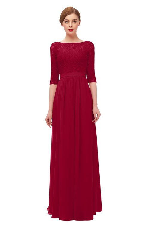 ColsBM Neriah Dark Red Bridesmaid Dresses Lace Antique Zipper Boat Floor Length Half Length Sleeve