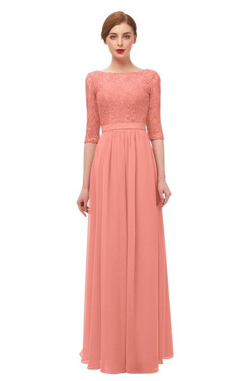 ColsBM Neriah Desert Flower Bridesmaid Dresses Lace Antique Zipper Boat Floor Length Half Length Sleeve