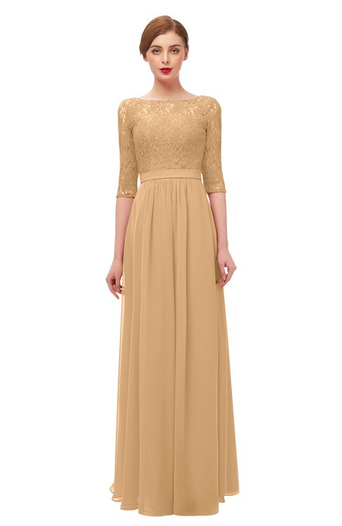 ColsBM Neriah Desert Mist Bridesmaid Dresses Lace Antique Zipper Boat Floor Length Half Length Sleeve