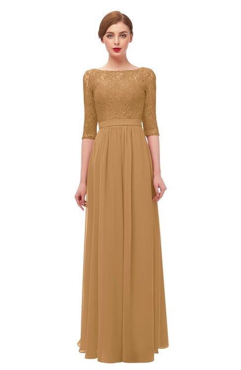 ColsBM Neriah Doe Bridesmaid Dresses Lace Antique Zipper Boat Floor Length Half Length Sleeve