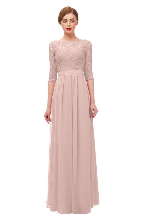 ColsBM Neriah Dusty Rose Bridesmaid Dresses Lace Antique Zipper Boat Floor Length Half Length Sleeve
