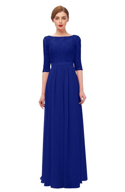 ColsBM Neriah Electric Blue Bridesmaid Dresses Lace Antique Zipper Boat Floor Length Half Length Sleeve