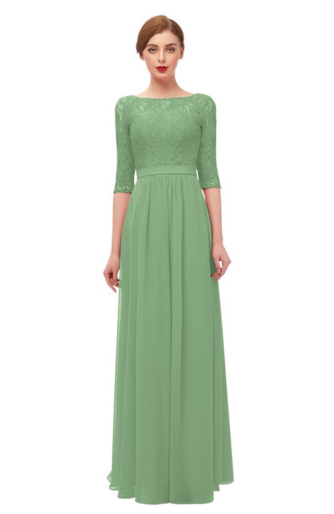 ColsBM Neriah Fair Green Bridesmaid Dresses Lace Antique Zipper Boat Floor Length Half Length Sleeve