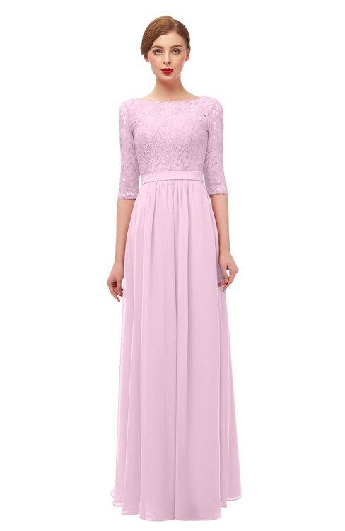 ColsBM Neriah Fairy Tale Bridesmaid Dresses Lace Antique Zipper Boat Floor Length Half Length Sleeve