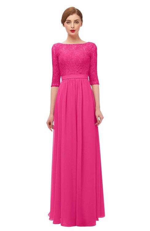 ColsBM Neriah Fandango Pink Bridesmaid Dresses Lace Antique Zipper Boat Floor Length Half Length Sleeve