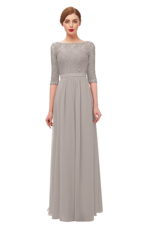 ColsBM Neriah Fawn Bridesmaid Dresses Lace Antique Zipper Boat Floor Length Half Length Sleeve