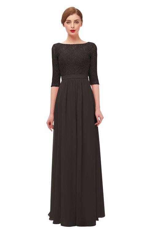 ColsBM Neriah Fudge Brown Bridesmaid Dresses Lace Antique Zipper Boat Floor Length Half Length Sleeve
