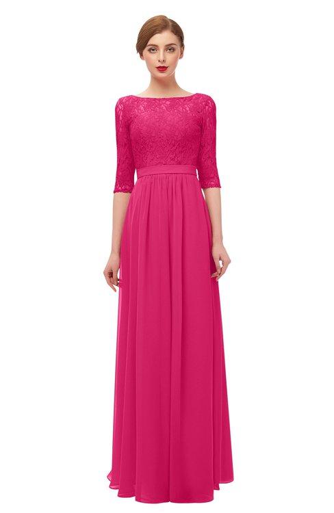 ColsBM Neriah Fuschia Bridesmaid Dresses Lace Antique Zipper Boat Floor Length Half Length Sleeve
