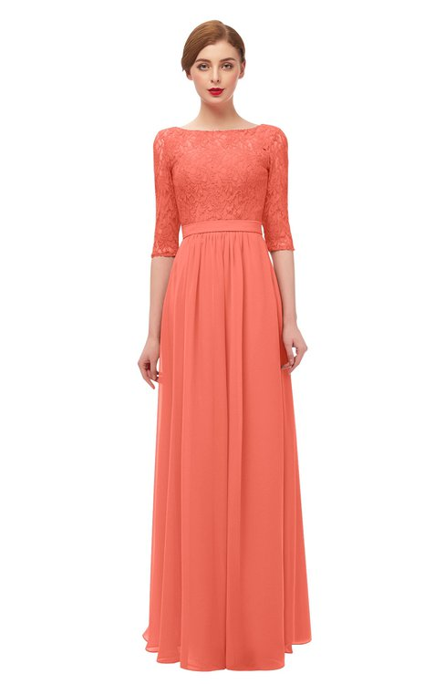 ColsBM Neriah Fusion Coral Bridesmaid Dresses Lace Antique Zipper Boat Floor Length Half Length Sleeve