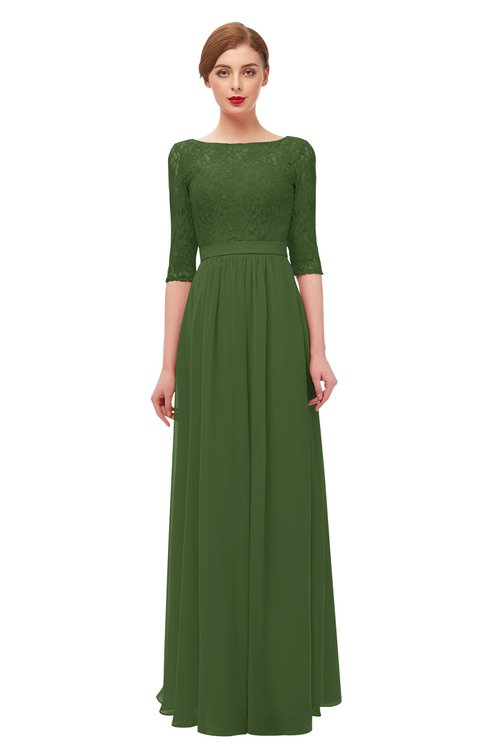 ColsBM Neriah Garden Green Bridesmaid Dresses Lace Antique Zipper Boat Floor Length Half Length Sleeve