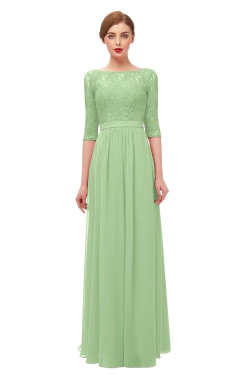 ColsBM Neriah Gleam Bridesmaid Dresses Lace Antique Zipper Boat Floor Length Half Length Sleeve