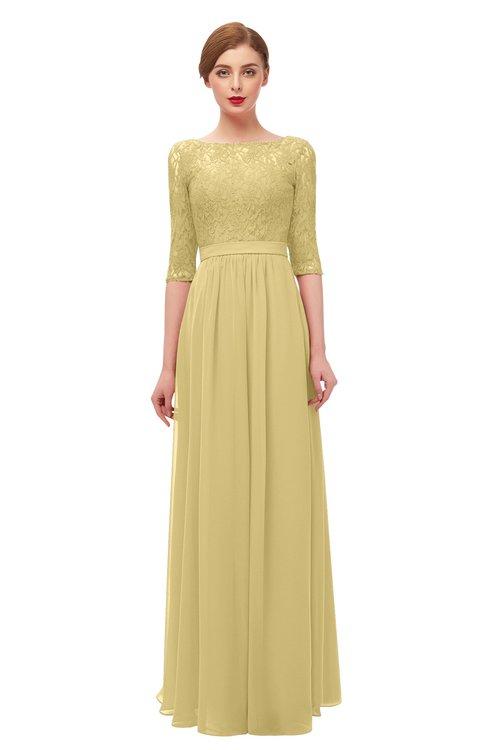 ColsBM Neriah Gold Bridesmaid Dresses Lace Antique Zipper Boat Floor Length Half Length Sleeve