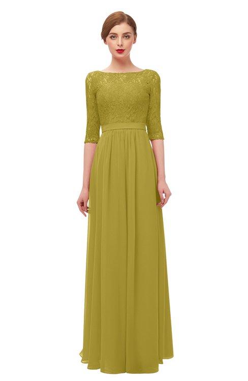 ColsBM Neriah Golden Olive Bridesmaid Dresses Lace Antique Zipper Boat Floor Length Half Length Sleeve