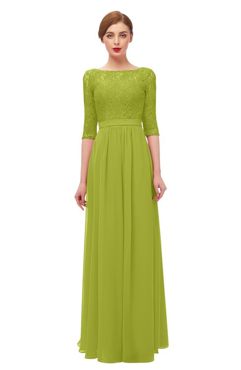 ColsBM Neriah Green Oasis Bridesmaid Dresses Lace Antique Zipper Boat Floor Length Half Length Sleeve