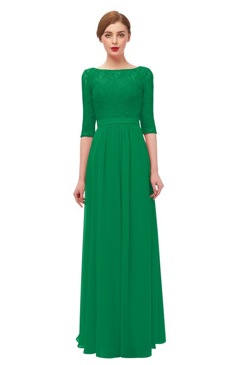 ColsBM Neriah Green Bridesmaid Dresses Lace Antique Zipper Boat Floor Length Half Length Sleeve