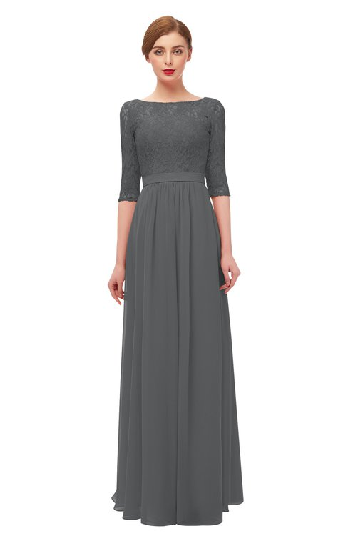 ColsBM Neriah Grey Bridesmaid Dresses Lace Antique Zipper Boat Floor Length Half Length Sleeve