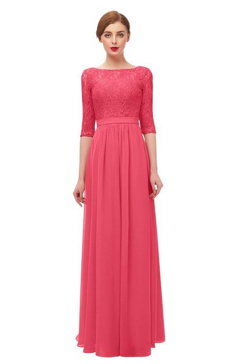 ColsBM Neriah Guava Bridesmaid Dresses Lace Antique Zipper Boat Floor Length Half Length Sleeve