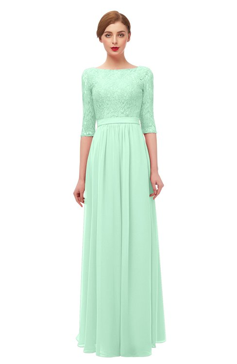 ColsBM Neriah Honeydew Bridesmaid Dresses Lace Antique Zipper Boat Floor Length Half Length Sleeve