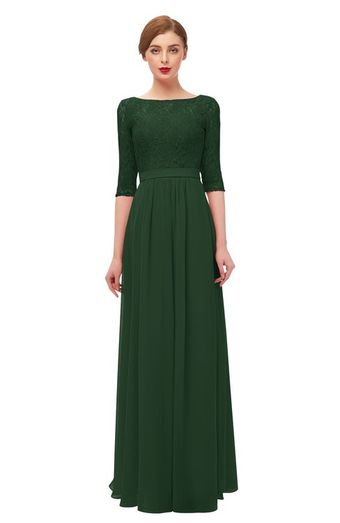 ColsBM Neriah Hunter Green Bridesmaid Dresses Lace Antique Zipper Boat Floor Length Half Length Sleeve
