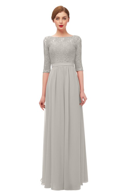 ColsBM Neriah Hushed Violet Bridesmaid Dresses Lace Antique Zipper Boat Floor Length Half Length Sleeve