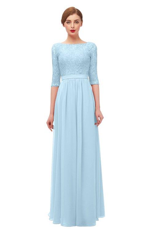 ColsBM Neriah Ice Blue Bridesmaid Dresses Lace Antique Zipper Boat Floor Length Half Length Sleeve