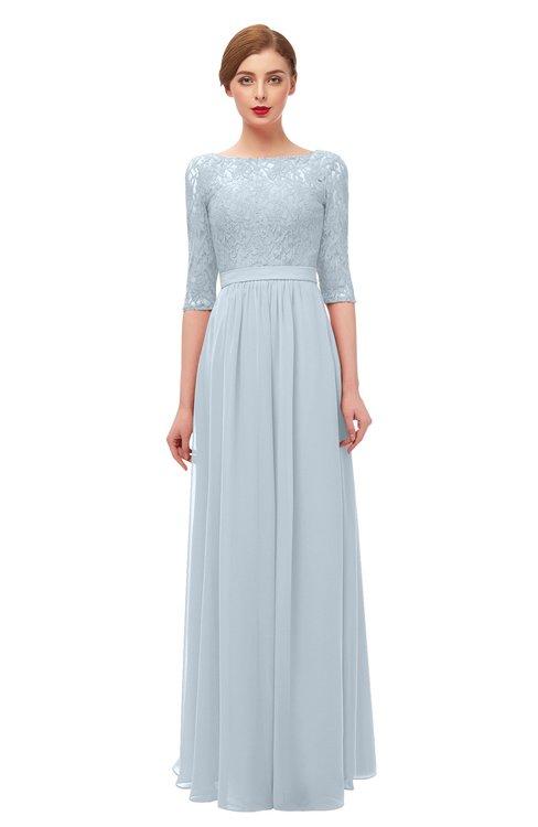 ColsBM Neriah Illusion Blue Bridesmaid Dresses Lace Antique Zipper Boat Floor Length Half Length Sleeve