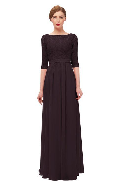 ColsBM Neriah Italian Plum Bridesmaid Dresses Lace Antique Zipper Boat Floor Length Half Length Sleeve