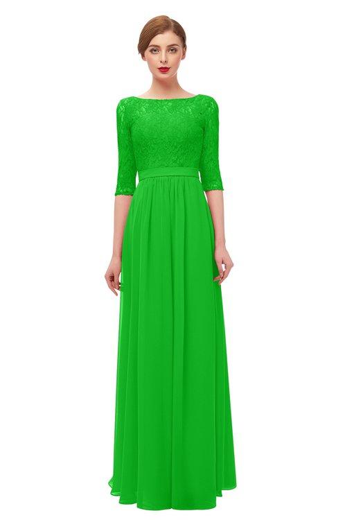 ColsBM Neriah Jasmine Green Bridesmaid Dresses Lace Antique Zipper Boat Floor Length Half Length Sleeve