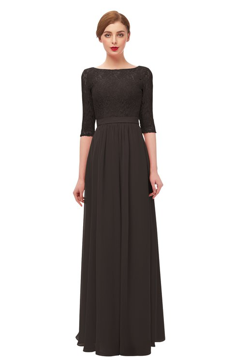 ColsBM Neriah Java Bridesmaid Dresses Lace Antique Zipper Boat Floor Length Half Length Sleeve