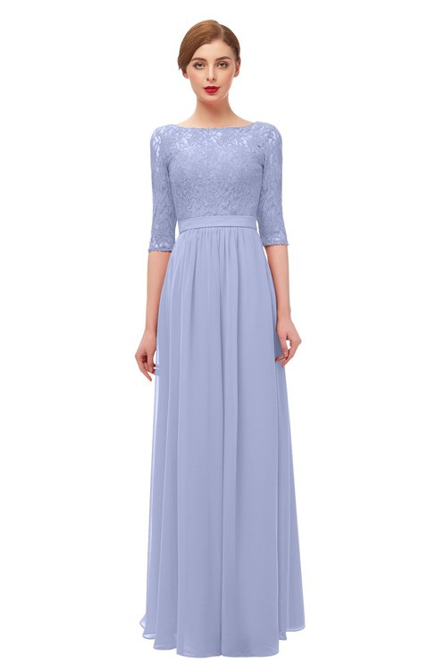 ColsBM Neriah Lavender Bridesmaid Dresses Lace Antique Zipper Boat Floor Length Half Length Sleeve