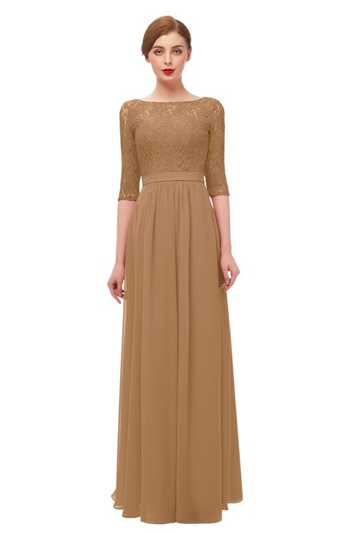 ColsBM Neriah Light Brown Bridesmaid Dresses Lace Antique Zipper Boat Floor Length Half Length Sleeve