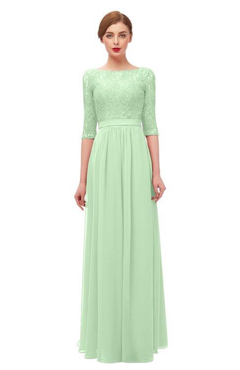 ColsBM Neriah Light Green Bridesmaid Dresses Lace Antique Zipper Boat Floor Length Half Length Sleeve
