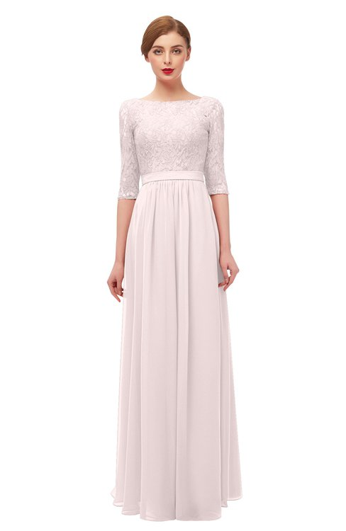 ColsBM Neriah Light Pink Bridesmaid Dresses Lace Antique Zipper Boat Floor Length Half Length Sleeve