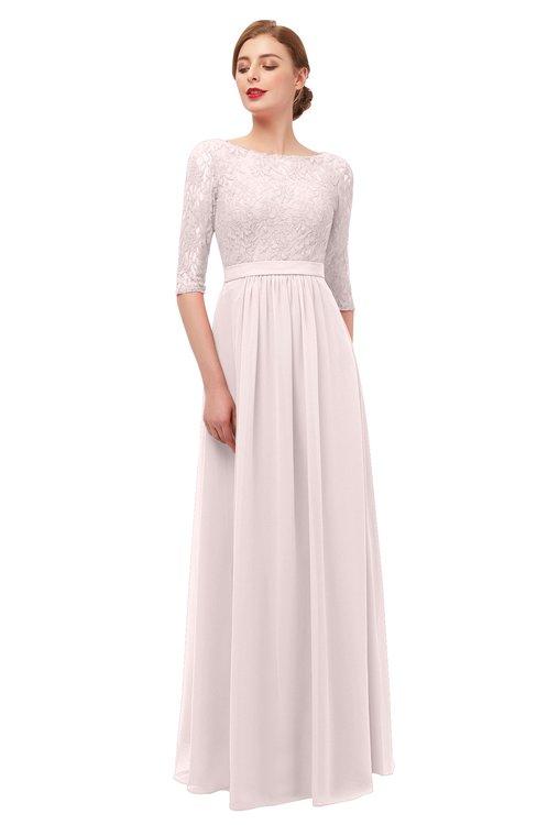551a3cb9b6 ... ColsBM Neriah Light Pink Bridesmaid Dresses Lace Antique Zipper Boat  Floor Length Half Length Sleeve ...