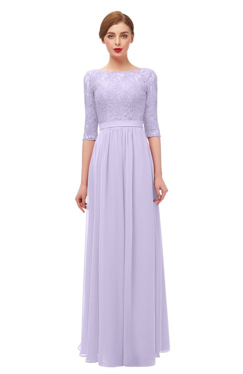 ColsBM Neriah Light Purple Bridesmaid Dresses Lace Antique Zipper Boat Floor Length Half Length Sleeve