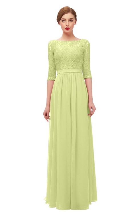 ColsBM Neriah Lime Green Bridesmaid Dresses Lace Antique Zipper Boat Floor Length Half Length Sleeve