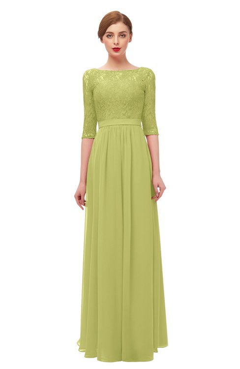 ColsBM Neriah Linden Green Bridesmaid Dresses Lace Antique Zipper Boat Floor Length Half Length Sleeve
