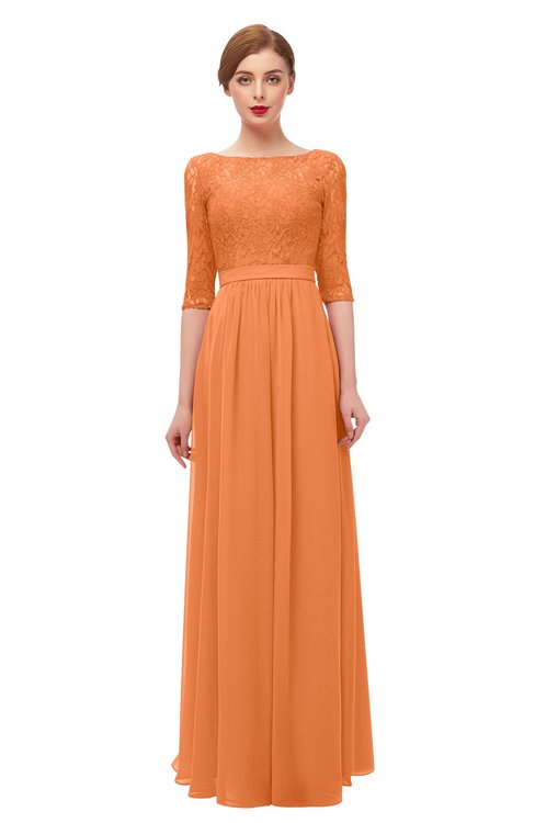 ColsBM Neriah Mango Bridesmaid Dresses Lace Antique Zipper Boat Floor Length Half Length Sleeve