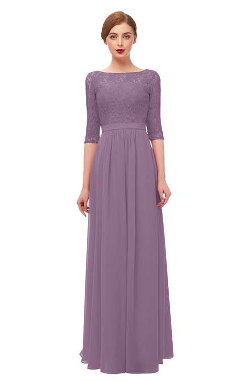 ColsBM Neriah Mauve Bridesmaid Dresses Lace Antique Zipper Boat Floor Length Half Length Sleeve