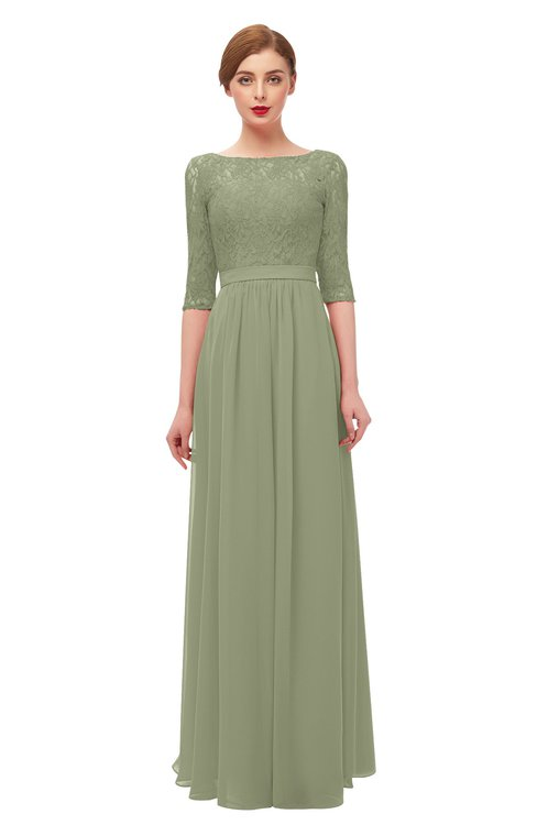 ColsBM Neriah Moss Green Bridesmaid Dresses Lace Antique Zipper Boat Floor Length Half Length Sleeve